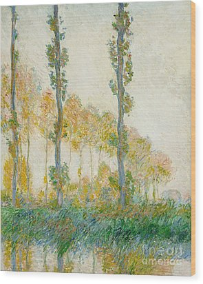 The Three Trees Wood Print by Claude Monet