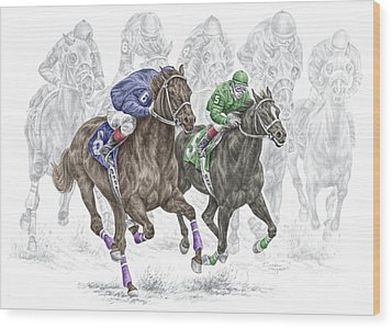 The Thunder Of Hooves - Horse Racing Print Color Wood Print