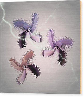 The Thunderbolt Dance Of Rose Butterflies - 6  Wood Print by Jacqueline Migell