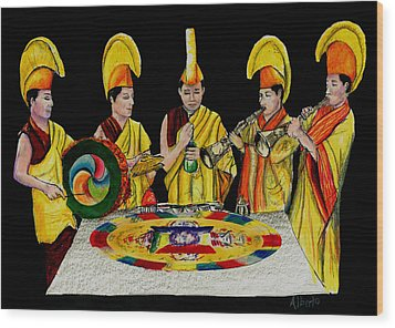 The Tibetan Monks At Lilydale Assembly Wood Print