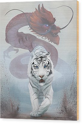 Wood Print featuring the digital art The Tiger And The Dragon by Steve Goad