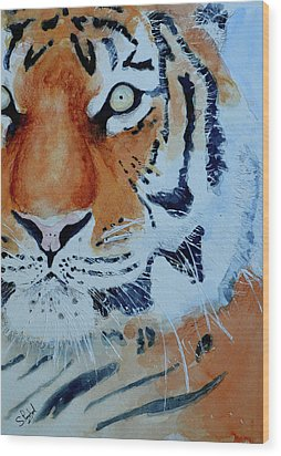 Wood Print featuring the painting The Tiger by Steven Ponsford