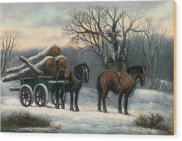 The Timber Wagon In Winter Wood Print by Anonymous