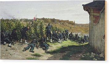 The Tirailleurs De La Seine At The Battle Of Rueil Malmaison Wood Print by Etienne Prosper Berne-Bellecour