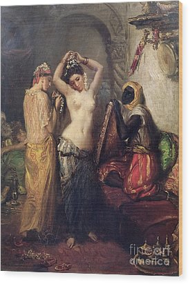 The Toilet In The Seraglio Wood Print by Theodore Chasseriau