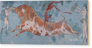 The Toreador Fresco, Knossos Palace, Crete Wood Print by Greek School