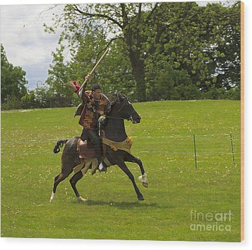 The Toss A Squire Throws A Javelin From Horseback Wood Print by Louise Heusinkveld