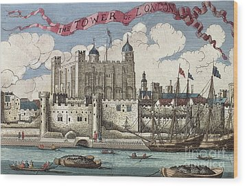 The Tower Of London Seen From The River Thames Wood Print by English School