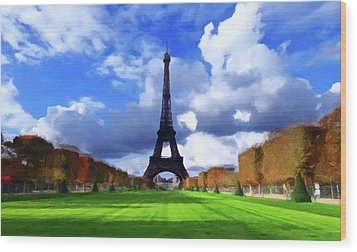 Wood Print featuring the painting The Tower Paris by David Dehner