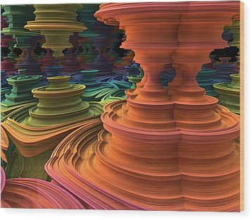 Wood Print featuring the digital art The Towers Of Zebkar by Lyle Hatch