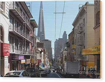 The Transamerica Pyramid Through Chinatown San Francisco Wood Print by Wingsdomain Art and Photography