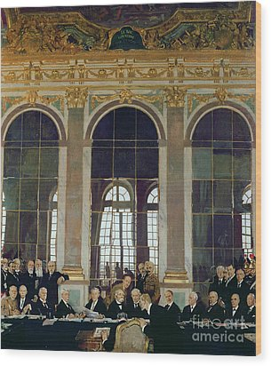 The Treaty Of Versailles Wood Print by Sir William Orpen