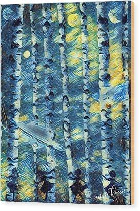 The Tree Children Wood Print by Vennie Kocsis