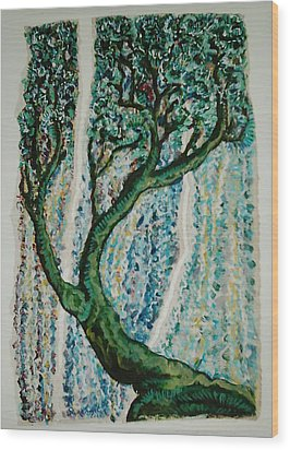 The Tree Energy Wood Print by Helene  Champaloux-Saraswati