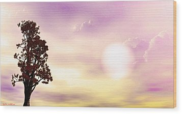 Wood Print featuring the mixed media The Tree by Tyler Robbins