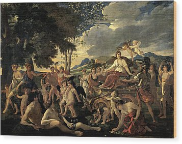 The Triumph Of Flora Wood Print by Nicolas Poussin