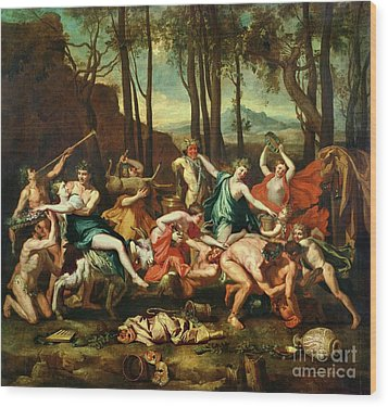 The Triumph Of Pan Wood Print by Nicolas Poussin