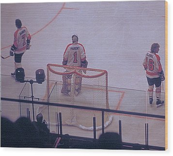 The Triumvirate - Bobby, Bernie, And Billy - Vintage Philadelphia Flyers Wood Print by Michael Mazaika