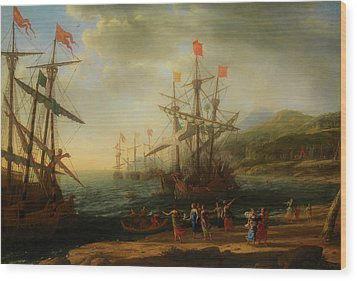 Wood Print featuring the painting The Trojan Women Setting Fire To The Fleet by Claude Lorrain