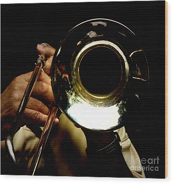 The Trombone   Wood Print by Steven Digman