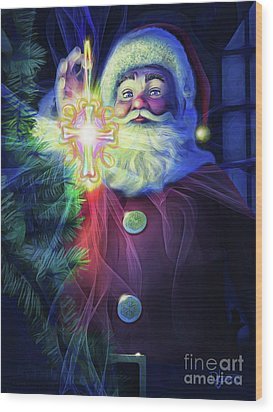 Wood Print featuring the painting The True Spirit Of Christmas - Bright by Dave Luebbert