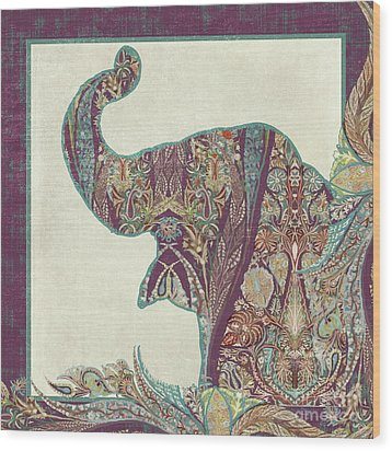 The Trumpet - Elephant Kashmir Patterned Boho Tribal Wood Print by Audrey Jeanne Roberts