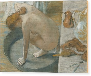 The Tub Wood Print by Edgar Degas