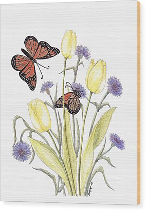 The Tulip And The Butterfly Wood Print by Stanza Widen