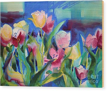 The Tulips Bed Rock Wood Print by Kathy Braud