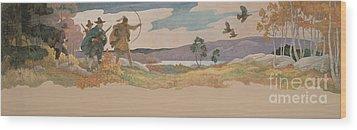 The Turkey Hunters Wood Print by Newell Convers Wyeth