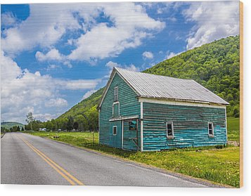 Wood Print featuring the photograph The Turquoise Barn by Paula Porterfield-Izzo