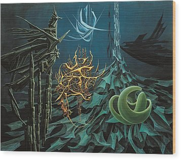 The Turquoise Night Wood Print by Charles Cater