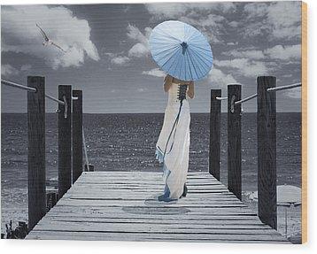 The Turquoise Parasol Wood Print by Amanda Elwell