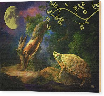 The Turtle Of The Moon Wood Print