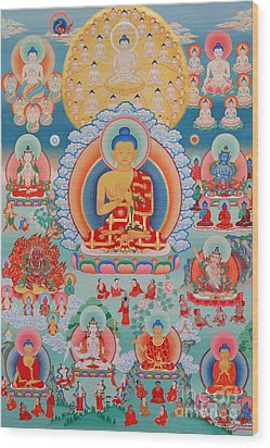 The Twelve Primordial Teachers Of Dzogchen - Tonpa Chu Ni Wood Print by Sergey Noskov
