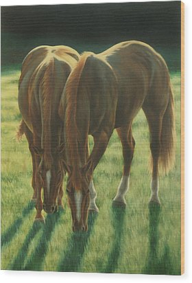 The Twins Wood Print by Karen Coombes