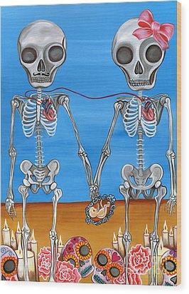 The Two Skeletons Wood Print by Jaz Higgins