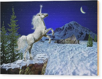 Wood Print featuring the digital art The Ultimate Return Of Unicorn  by William Lee