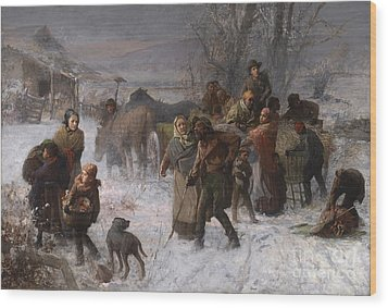 The Underground Railroad Wood Print by Charles T Webber