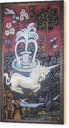 The Unicorn And Garden Wood Print by Genevieve Esson