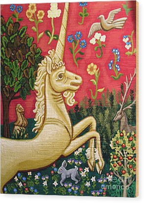 The Unicorn Wood Print by Genevieve Esson