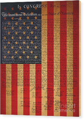 The United States Declaration Of Independence And The American Flag 20130215 Wood Print by Wingsdomain Art and Photography