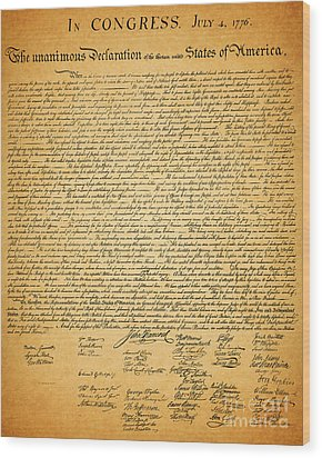 The United States Declaration Of Independence Wood Print by Wingsdomain Art and Photography