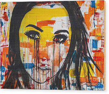 Wood Print featuring the painting The Unseen Emotions Of Her Innocence by Bruce Stanfield