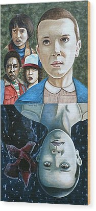 Wood Print featuring the painting The Upside Down by Al  Molina