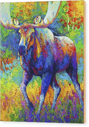 The Urge To Merge - Bull Moose Wood Print by Marion Rose