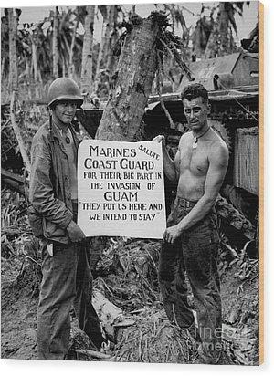 The U.s. Marines Salute The U.s. Coast Wood Print by Stocktrek Images