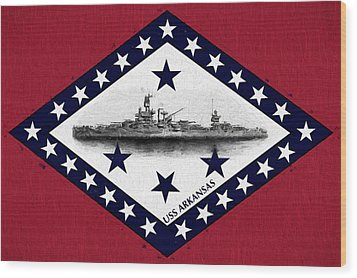 Wood Print featuring the digital art The Uss Arkansas by JC Findley