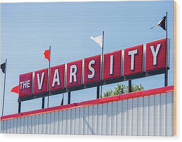 Wood Print featuring the photograph The Varsity Sign by Parker Cunningham