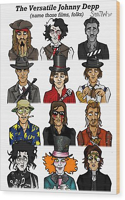 The Versatile Johnny Depp Wood Print by Sean Williamson